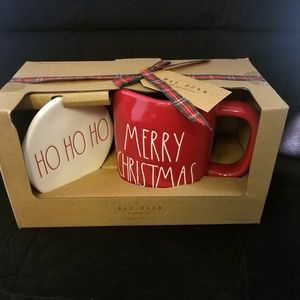 Rae Dunn MERRY CHRISTMAS Mug Coaster HO HO HO Set